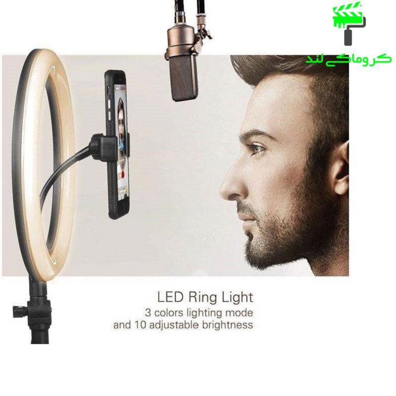 رینگ لایت مدل ZD-666 مجهز به سه طیف رنگی مختلف و قابلیت تنظیم روشنایی